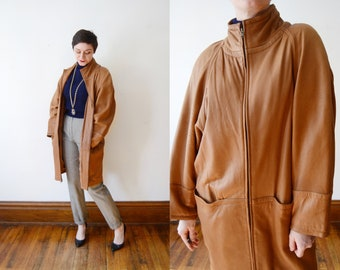 1980s Brown Leather Coat - M