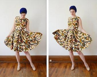 1960s Vibrant Paisley Dress - S/M