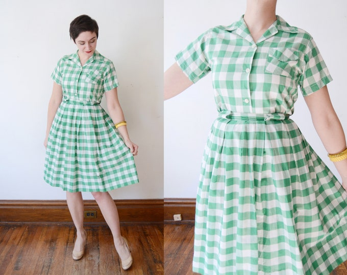 1950s Green Gingham Skirt and Blouse Set - S