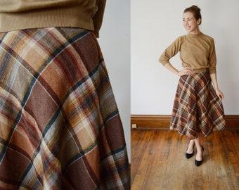 1970s Aline Brown Plaid Skirt - XS