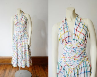 Barboglio Cristina & Jan 1980s White Cotton Halter Dress - XXS