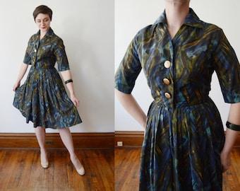 1950s Blue Brushstroke Dress - S/M
