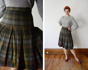 1950s Pendleton Box Pleat Reversible Plaid Skirt - M