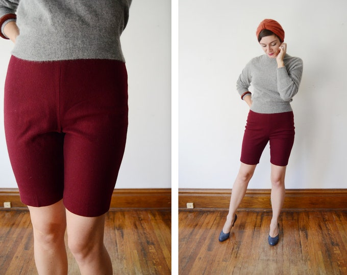 1960s Burgundy Wool Bermuda Shorts - S/M