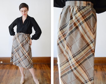 1970s Grey and Brown Aline Plaid Skirt - M