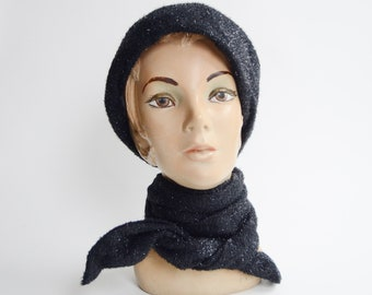 Handmade Vintage Hood Hat with Attached Scarf