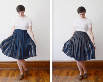 1950s Blue and Grey Reversible Pleated Skirt - S