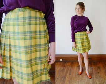 1960s Lime Green Plaid Skirt - XS