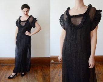 1930s Black Sheer Dress - M/L