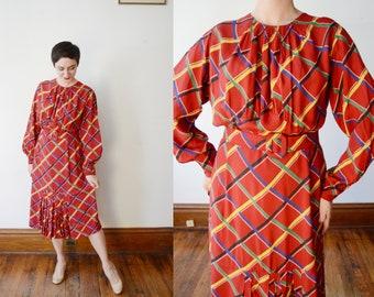 1940s Red Plaid Rayon Dress - M/L