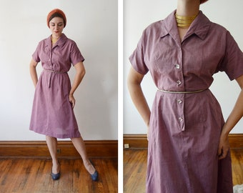 1950s Purple Dress / Early 50s Purple Shirtdress with Clear Buttons - M