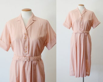 1960s Pink Check Shirtwaist Dress - M