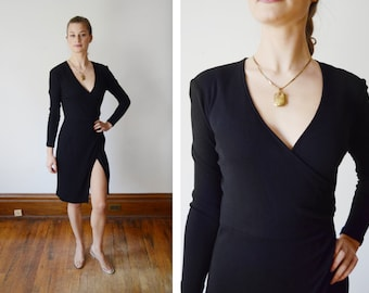 1980s DKNY Black Jersey Wrap Dress - XS/S