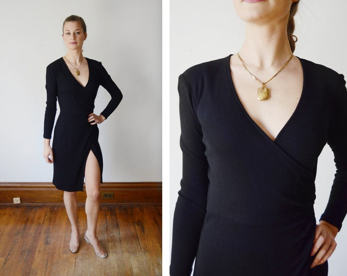Featured listing image: 1980s DKNY Black Jersey Wrap Dress - XS/S