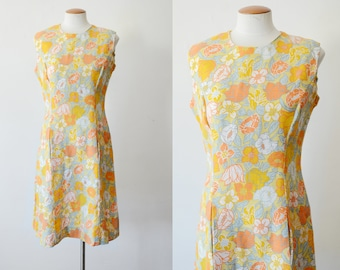 1960s Yellow Floral Shift Dress - M