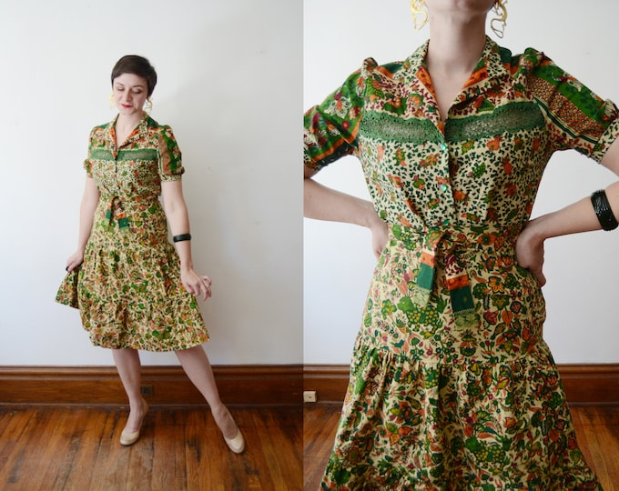 1970s Cotton Blouse and Skirt Set - S