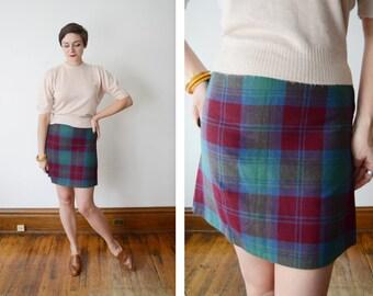 1960s Plaid Wool Mini Skirt - S