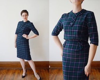 1960s Fitted Green Plaid Dress - S