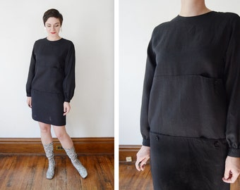 Stanley Sherman 1970s/1980s Black Linen Dress - S/M