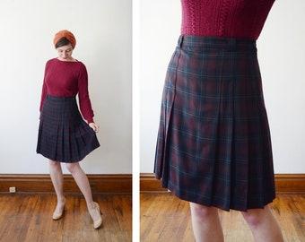 1980s Dark Plaid Wool Skirt - M/L