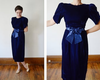 Lanz 1980s Blue Velvet Dress - S/M