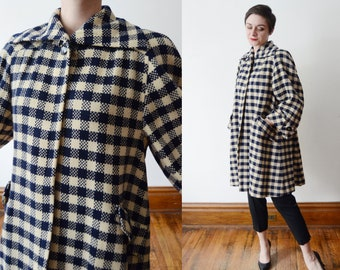 1940s Checkered Wool Swing Coat - M