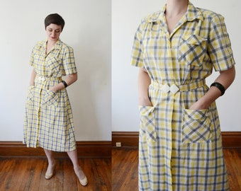 Deadstock 1940s Yellow Plaid Dress - L
