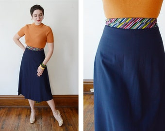 1940s Blue Skirt with Striped Waistband - S