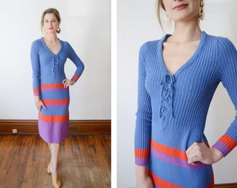 1970s Striped Sweater Dress - XS/S