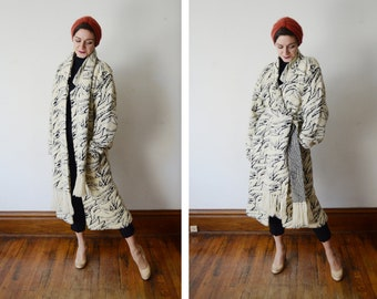 1980s Black and White Sweater Coat and Scarf - S/M