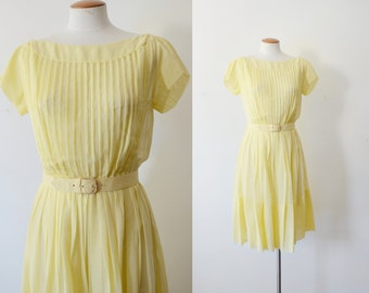1950s Sheer Yellow Pleated Dress - S