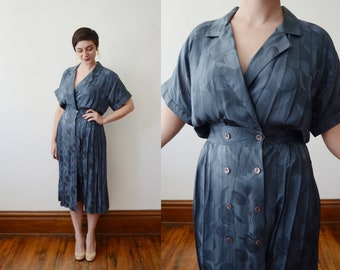 1980s Blue Silk Wrap Dress - M/L