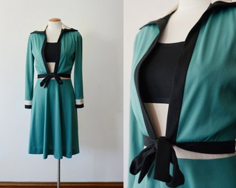 1970s Colorblock Dress and Jacket - S