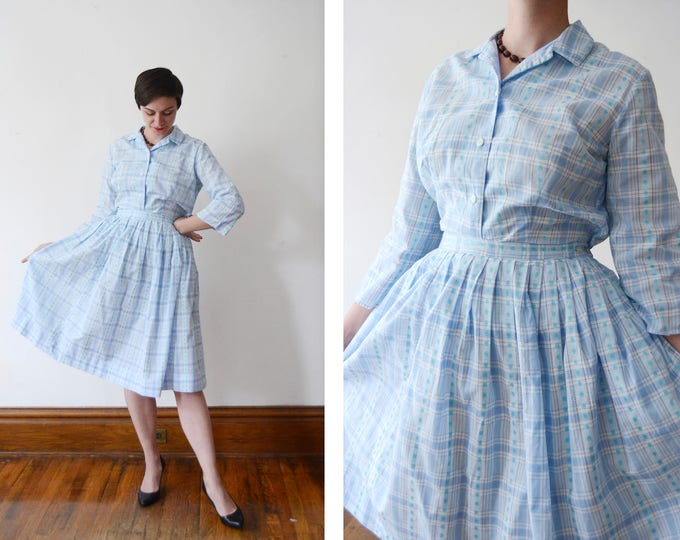 1960s Blue Plaid Top and Blouse - M