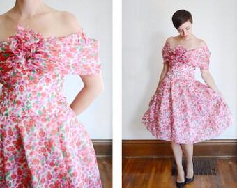 1980s Albert Nipon Silk Floral Dress - M
