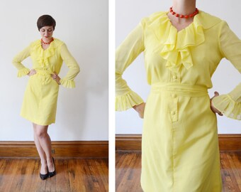 1960s Yellow Ruffled Dress - M