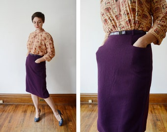 College Town 1970s Purple Wool Pencil Skirt - M