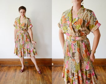 Tropical 80s Dress - M/L