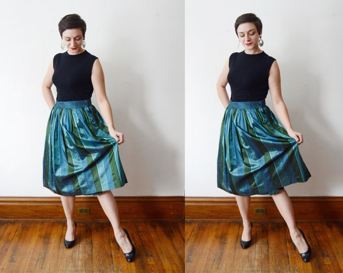 1980s Blue Silk Skirt - M
