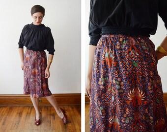 1970s Cotton Wrap Skirt - S/M