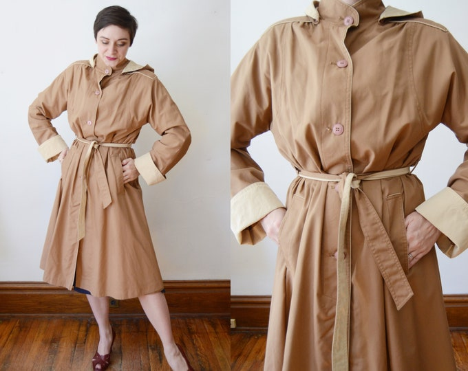 1980s Brown and Tan Trench Coat with Hood - M