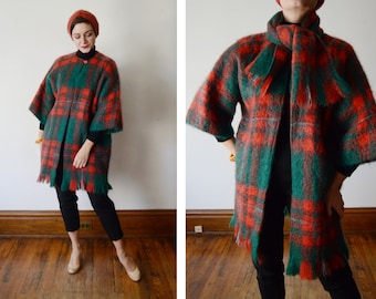 1960s Orange and Green Mohair Plaid Jacket and Scarf - S