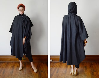 1980s Grey Wool Hooded Cape - OSFM