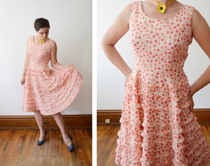 1950s Susan Ross Peach Floral Dress - M
