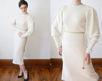 1970s Cream Sweater Dress - M