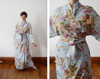 1970s Blue Floral Kimono Robe - S/M/L
