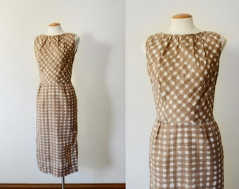 1960s Brown Fitted Check Dress - S