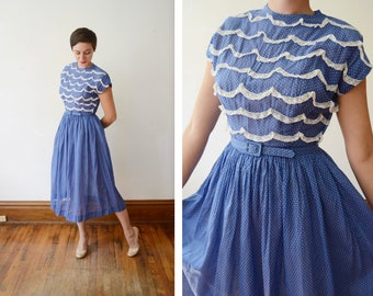 1940s Sheer Blue Swiss Dot Dress - S/M
