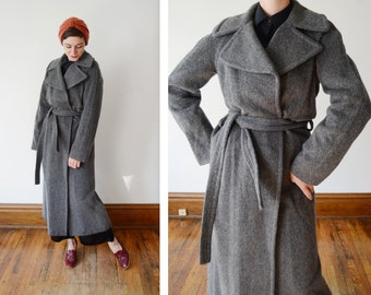1990s DKNY Grey Wool Long Coat - M