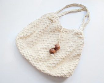 1970s Off White Fishnet Purse